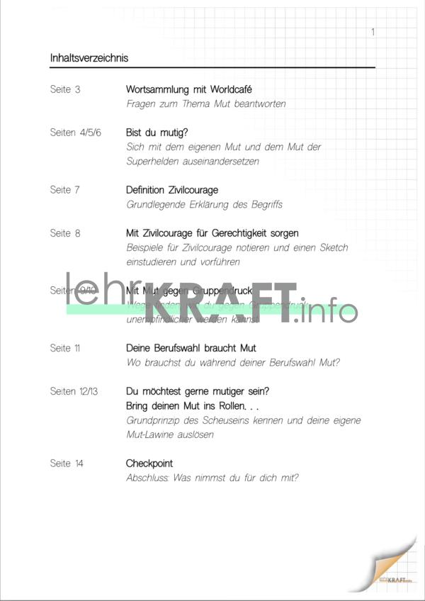 Inhaltsverzeichnis Mut1
